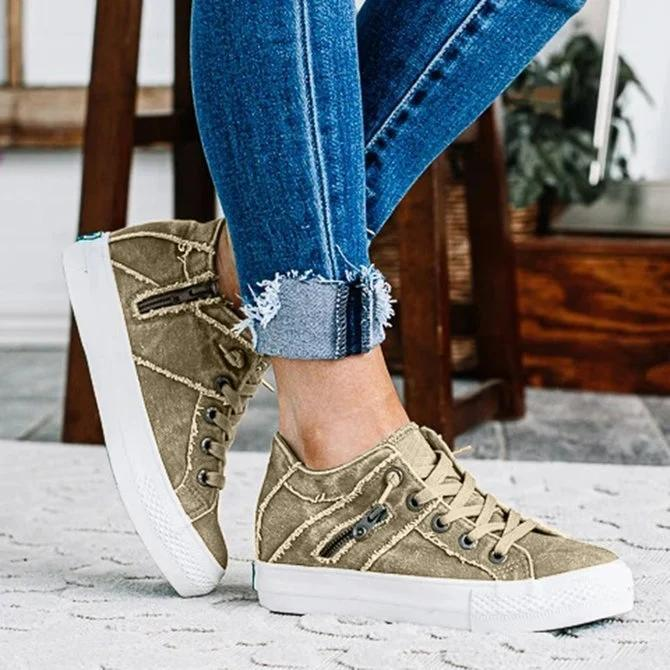 Women Comfy Hipster Smoked Canvas Sneakers