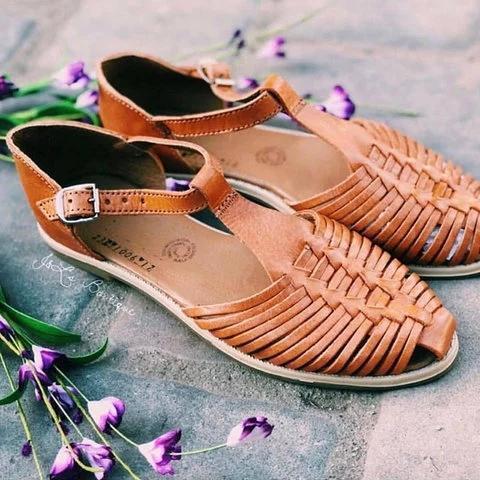 Womens Vintage Casual Summer Flat Heel Pu Buckle Sandals