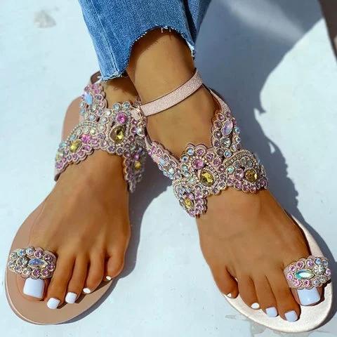 Women Boho Toe Ring Studded Flower Pattern Flat Sandals