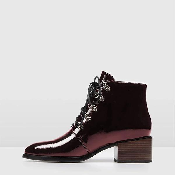 Lady Stylish Lace-Up Heels Ankle Boots