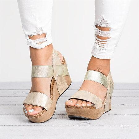 Large Size Slip On Double Band Wedges Sandals