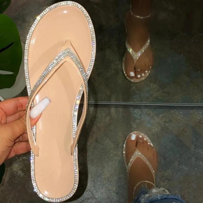 Flat With Rhinestone Slip-On Thong PVC Casual Slippers