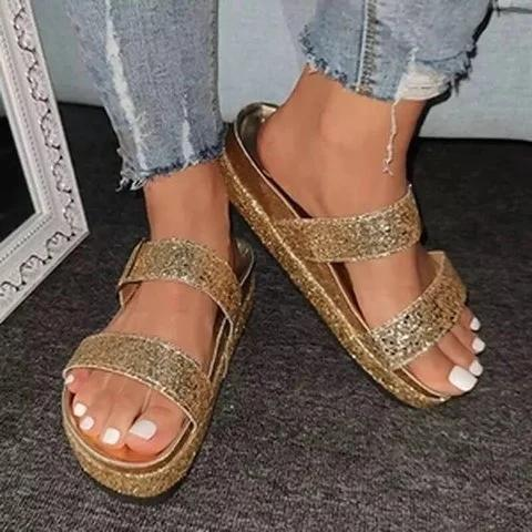 Golden Rhinestone Summer Artificial Leather Block Heel Slippers