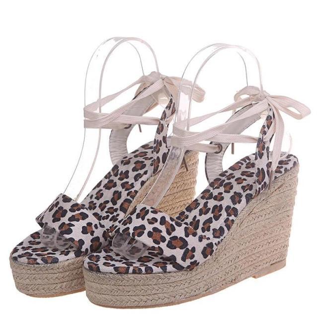 Women Casual Roman Leopard Wedge Sandals