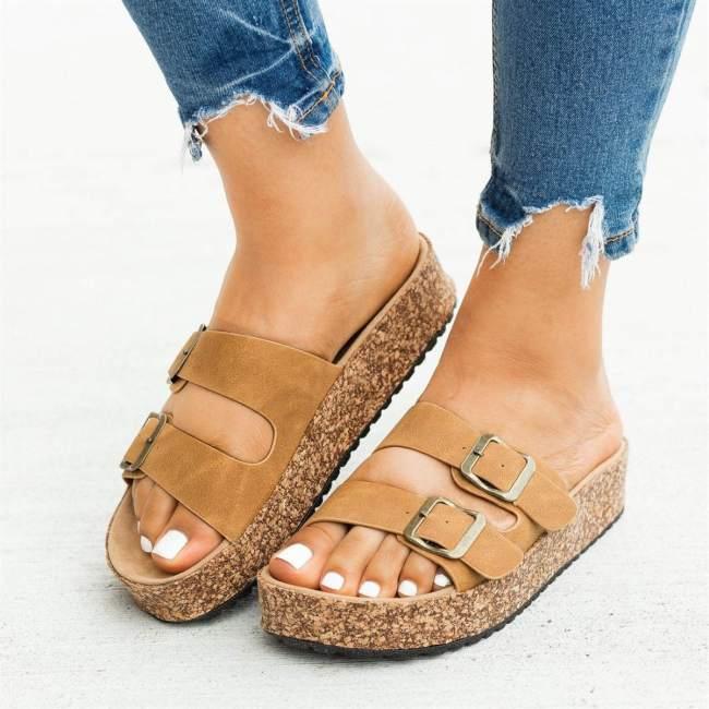Double Buckle Platform Sandals