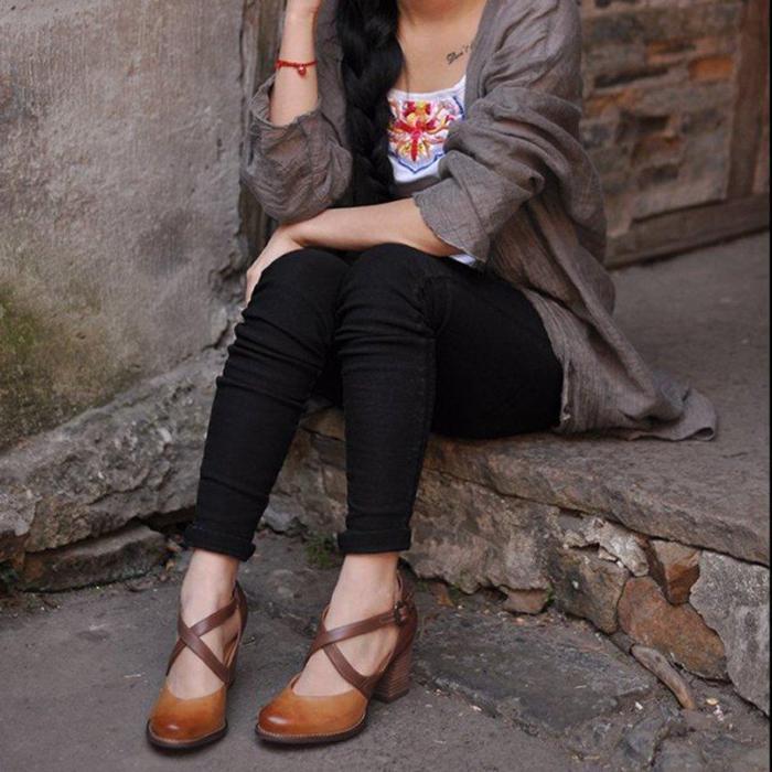Women's high heels 8 cm with buckle strap