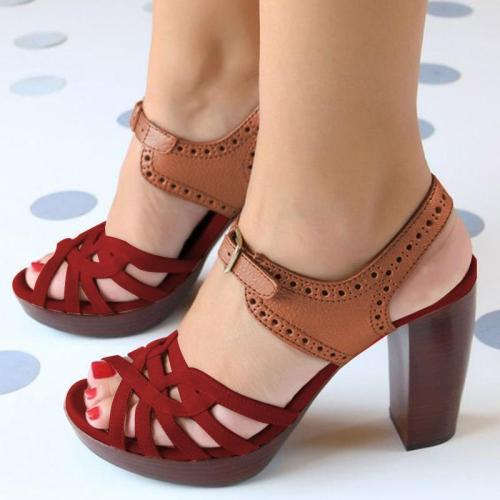 PEEP TOE CHUNKY HEEL PU CASUAL BUCKLE SANDALS