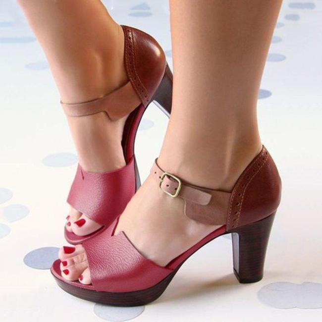 CHUNKY HEEL ANKLE STRAP ELEGANT SHOES WORKING DAILY SANDALS