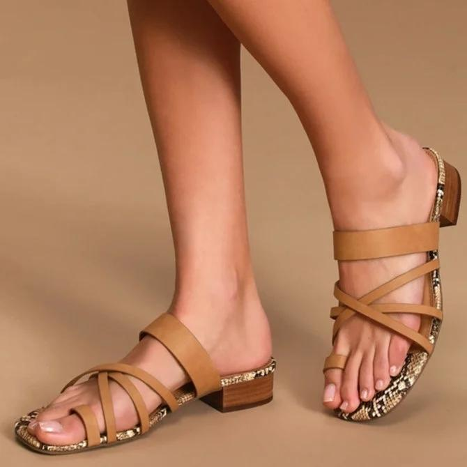 Pi Clue Summer Block Heel Artificial Leather Slippers
