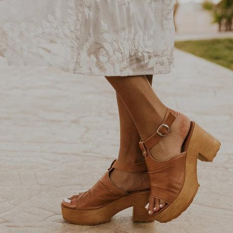 Pi Clue Brown Casual Wedge Heel Summer Leather Sandals