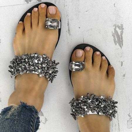 Faux Rhinestone Women Toe Ring Flat Sandals