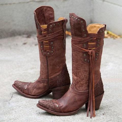 Rivet Casual Fall Low Heel Boots