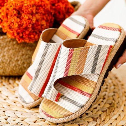 Block Heel Artificial Leather Seaside Summer Slippers