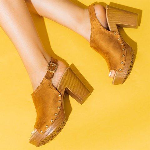 Women Chic Studded Wood Chunky Heels