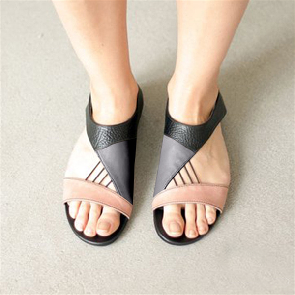 Simple Stitching Color Flat Sandals