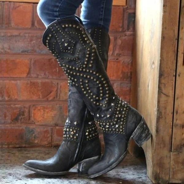 Fashion Round Toe Rivet Knee High Boots