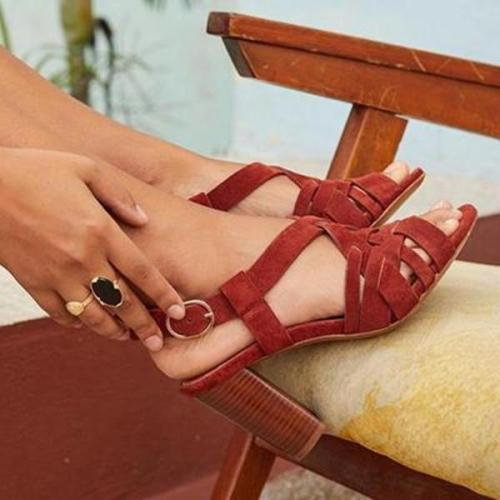 Women Casual PU Peop Toe Chunky Sandals
