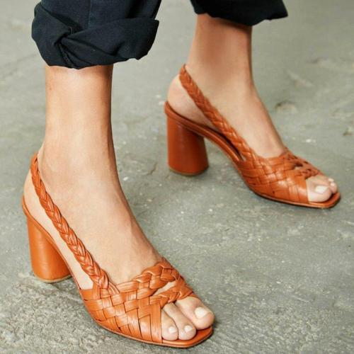 Women Summer Peop Toe Chunky Heel Sandals