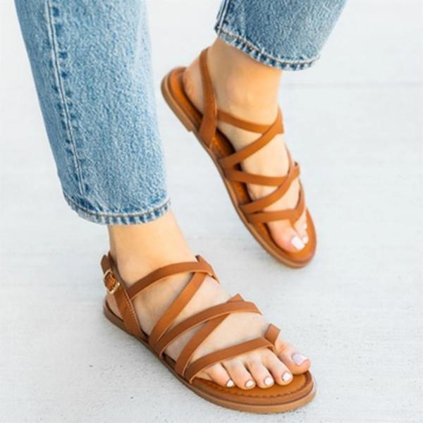 Pu Plus Size Flat Beach Sandals