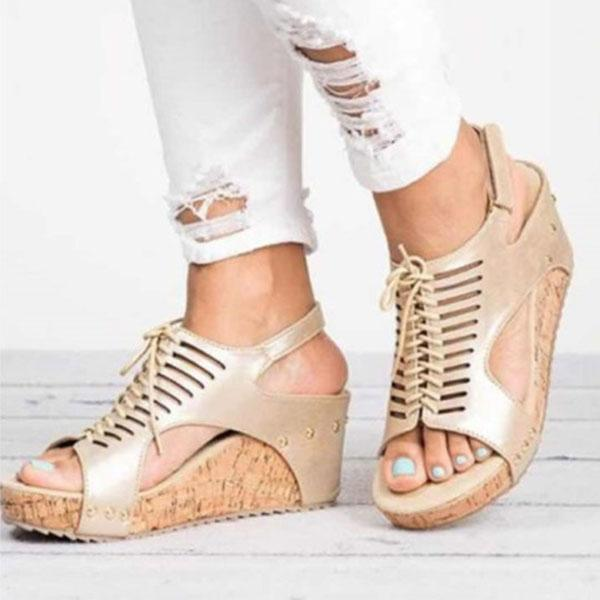 Hollow Lace-up Peep Toe Wedge Sandals
