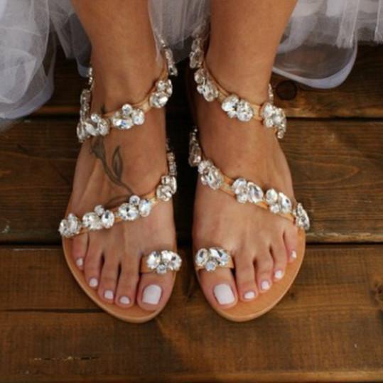 Plain Flat Peep Toe Date Travel Wedding Flat Sandals