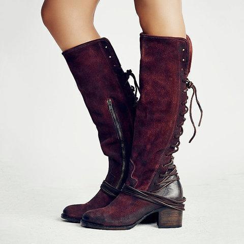 Vintage Knee-high Boots Zipper Faux Suede Boots