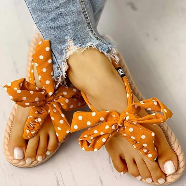 Women Fabric Bowknot Dot Floral Thongs Flat Heel Espadrille Slippers