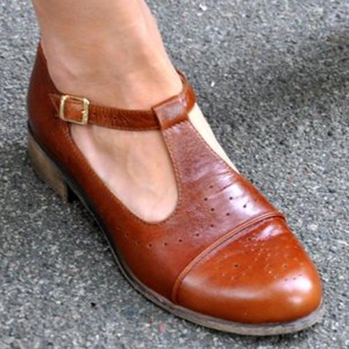 Retro Comfortable Thick Heel Casual Flats
