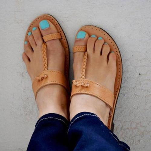 Plain Flat Peep Toe Casual Date Slippers Flat Sandals