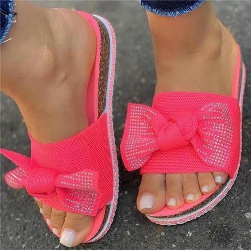 Women Flyknit Fabric Bowknot Rhinestones Open Toe Platform Footbed Slippers