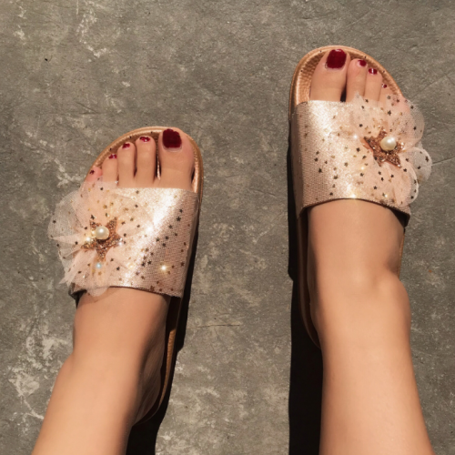 Flat Fashion Sequins Ribbons Summer Women's Sandals