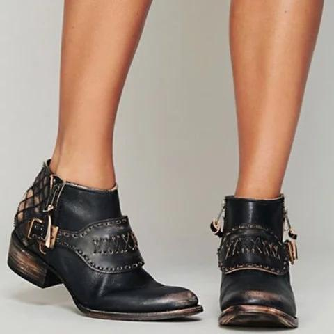 Vintage Ankle Boots Adjustable Buckle Pu Booties