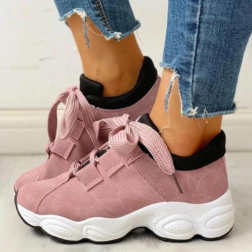 Women Athletic Hit Color Lace-up Platform Sneakers