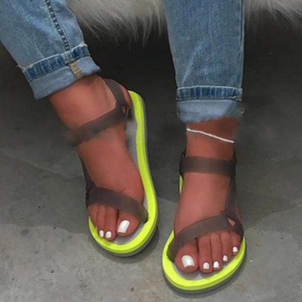 Open Toe Flat With Ankle Strap Buckle Plain Sandals