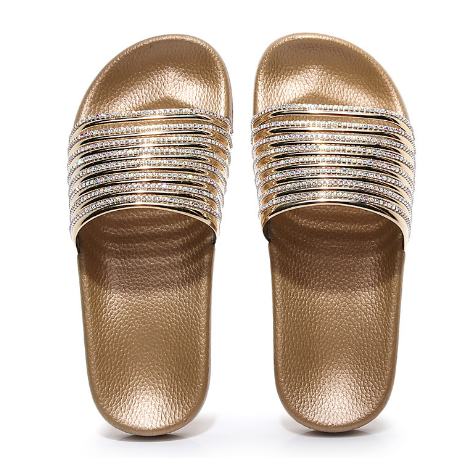 Woman Fashion Trend Bright Flash Diamond Casual Wild Word Flip Sandals