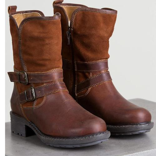 Women Casual Double Buckle Vintage Boots