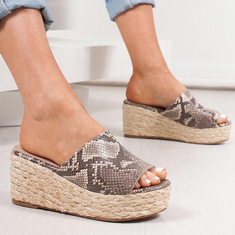 Women Slip-On Peep Toe Espadrilles Wedge Heel Plus Size Sandals