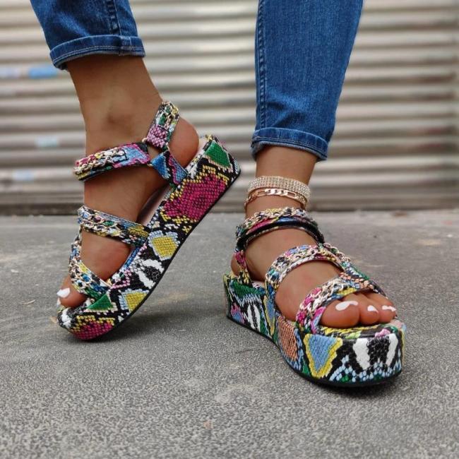 Multicolor Snakeskin Platform Sandal