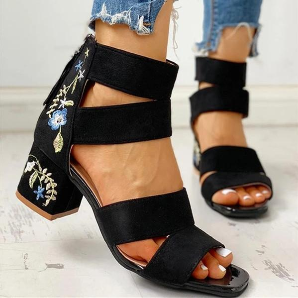 Women Back Zipper Chunky Sandals