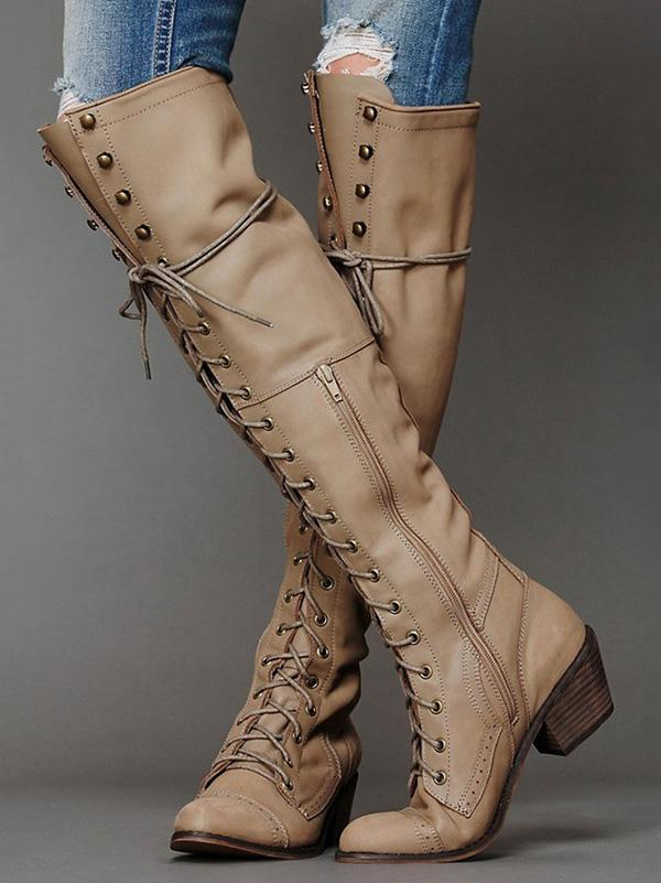 Bandage Thigh-high Boots Shoes