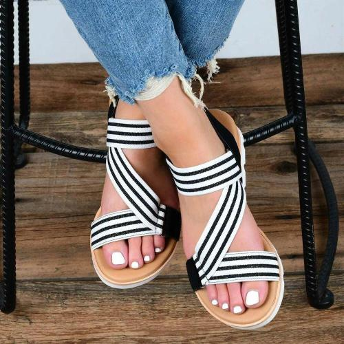 Women Elastic Band Lightweight Wearable Hook Loop Casual Sandals