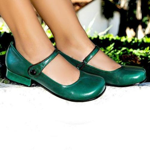 Women Vintage Closed Toe Low Heels Faux Leather Sandals