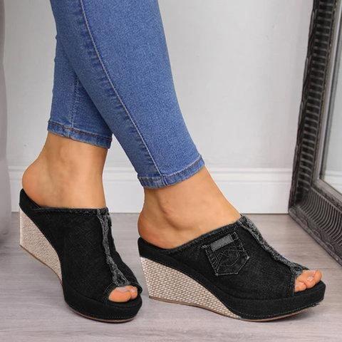 Women Peep Toe Casual Summer Wedge Sandals
