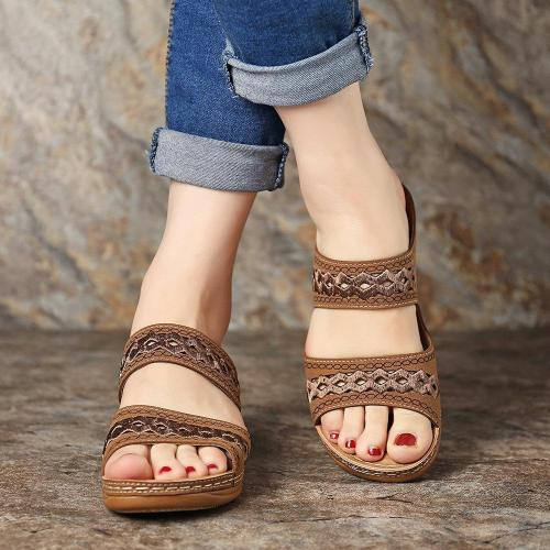 Handmade Stitching Comfortable Open Toe Casual Wedges Sandals