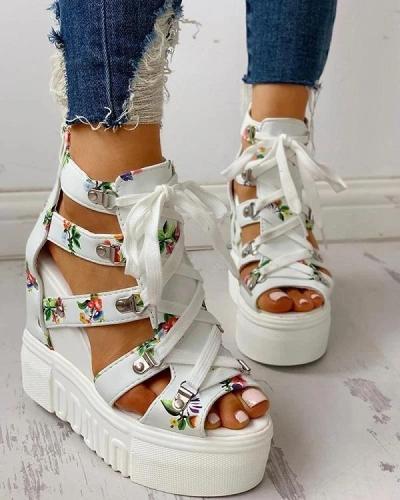 2020 Leisure Wedges Platform Shoelaces Women's Sandals