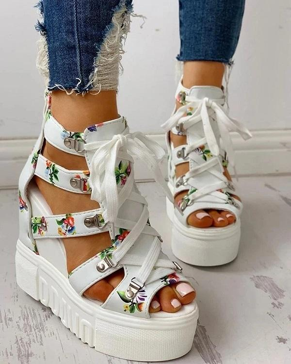2020 Leisure Wedges Platform Shoelaces Women's Sandals
