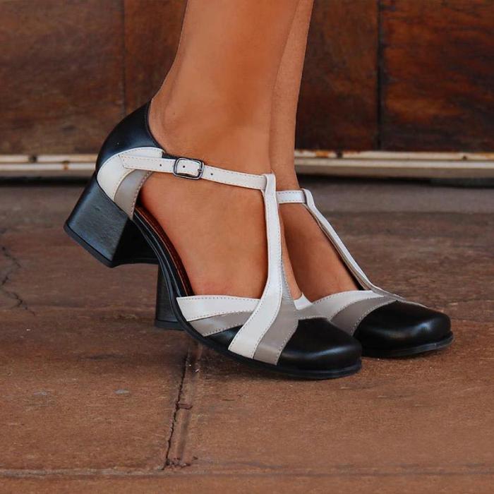 Closed Toe Adjustable Buckle Chunky Heel Sandals