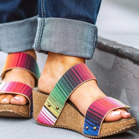 Women Comfy Slip-on Wedge Sandal Shoes
