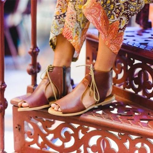 Women Side Zipper Lace Up Stylish Sandals