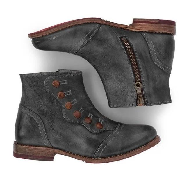 Women Vintage Short Leather Booties Shoes